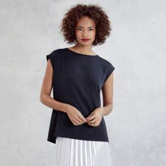 The White Company Woven Front Jersey Top, Navy, 6