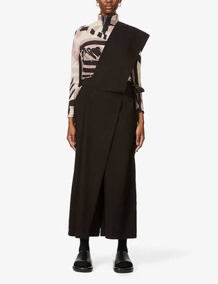 Issey Miyake Overlay panel wide-leg high-rise cotton-blend trousers