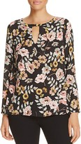 Cupcakes And Cashmere Jupiter Floral Keyhole Blouse