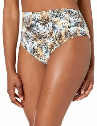 BCBGMAXAZRIA Women's High Waist Shirred Pant Bikini Bottom
