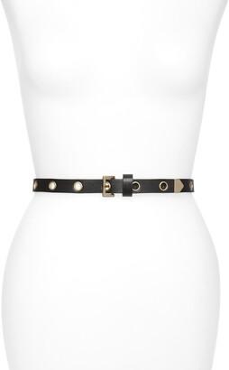 AllSaints Skinny Eyelet Leather Belt