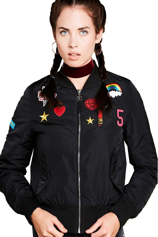 Thumbnail for your product : Brave Soul Armybadge2 Ladies Bomber Jacket Black-UK 14