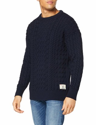 Scotch & Soda Men's Wool/Cotton-Blend Crewneck Pull in Cable Knit Vest