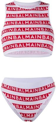 Balmain Logo Stripe Bikini