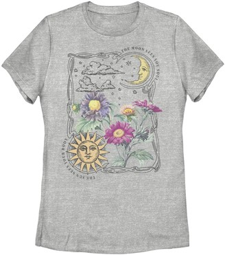 Fifth Sun Juniors' Sun & Moon Galactic Flowers Graphic Tee