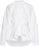 Ellery Echo Gathered Cotton-jacquard Shirt - White