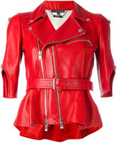 Alexander McQueen belted biker jacket - women - Silk/Lamb Skin - 40