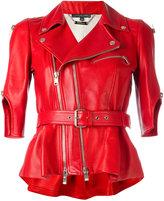 Alexander McQueen belted biker jacket - women - Silk/Lamb Skin - 42