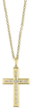"Effy D'Oro by Men's 22"" Diamond Cross Pendant Necklace (1 ct. t.w.) in 14k Gold"