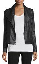 Vince Feather Leather Scuba Jacket, Black