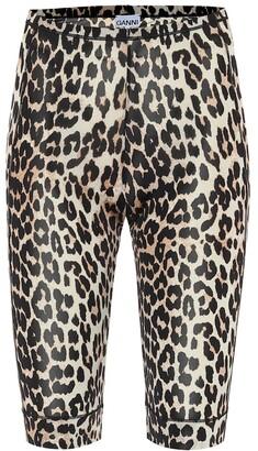 Ganni Leopard-print biker shorts