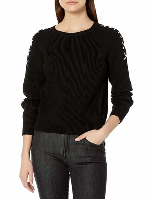 525 America Women's Lace up Sleeve Crop Shaker Crew Sweater