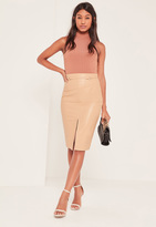 Missguided Nude Harness Detail Faux Leather Midi Skirt