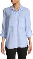 Pure Navy Long-Sleeve Linen Shirt