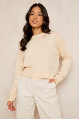 boohoo Petite Round Neck Boxy Knitted Jumper