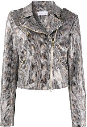 Patrizia Pepe python-print biker jacket