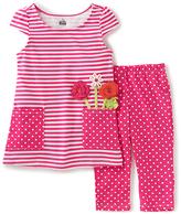 Kids Headquarters Fuchsia Stripe & Dot Tunic & Capri - Infant