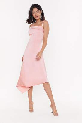 Nasty Gal Womens Asymetric Square Neck Satin Midi Dress - Pink - 10, Pink