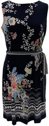 Sandra Darren Sleeveless Belted ITY Knit Shift Dress