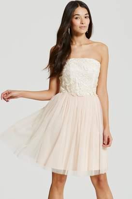 Little Mistress Cream/Nude Lace Overlay Bandeau Prom Dress