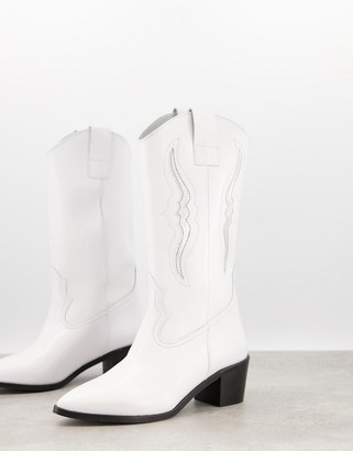Depp knee high western boots in white leather