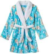 Disney Girls Frozen Blue Plush Bathrobe - Elsa with Sherpa Collar