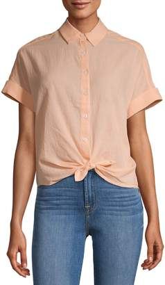 Lord & Taylor Button-Down Tie Hem Shirt