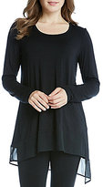 Karen Kane Long Sleeve Asymmetric Sheer Hem Tunic