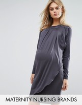 Mama Licious Mama.licious Nursing Long Sleeve High Neck Jersey Dress