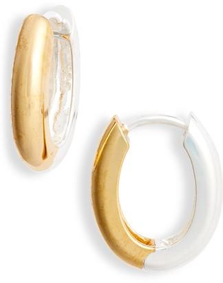 Argentovivo Two Tone Sterling Silver Oval Hoop Earrings
