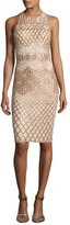 Rachel Gilbert Olympia Linear-Beaded Cocktail Sheath Dress, Champagne