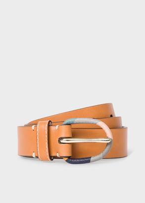 Paul Smith Women's Tan Leather Belt With 'Swirl' Buckle