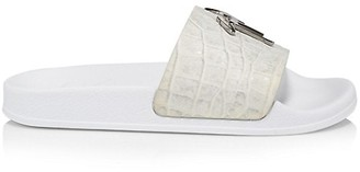 Giuseppe Zanotti Lilium Croc-Embossed Leather Pool Slides