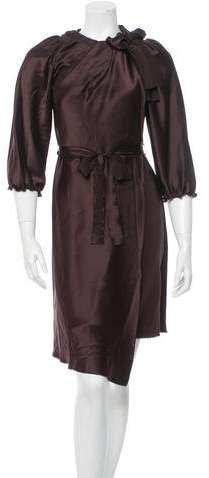 David Szeto Silk Long Sleeve Dress