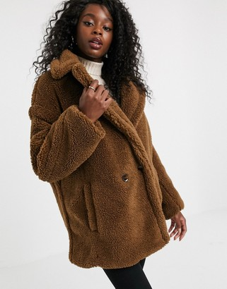 Qed London QED London double breasted teddy coat