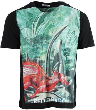 Valentino Dragon Garden Graphic Print T-shirt Green