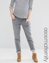 Asos Kimmi Boyfriend Jeans In Des Torres Wash With Over The Bump Waistband