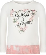 GUESS Ivory Floral Top With Lace Trim