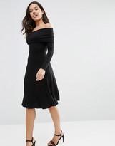 Asos Long Sleeve Deep Bardot Midi Skater Dress