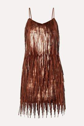 Michael Kors Fringed Metallic Leather Mini Dress - Copper