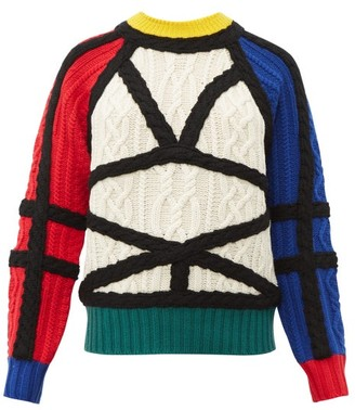Charles Jeffrey Loverboy Aran Contrast Cable-knit Wool Jumper - Womens - Multi