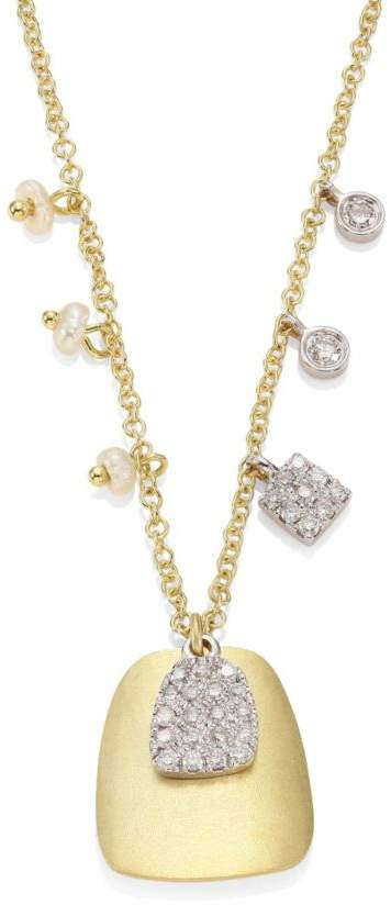Meira T Diamond, 2.3-2.4MM White Freshwater Pearl & 14K Yellow Gold Pendant Necklace