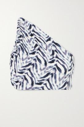Norma Kamali Diana One-shoulder Ruched Zebra-print Bikini Top - Zebra print