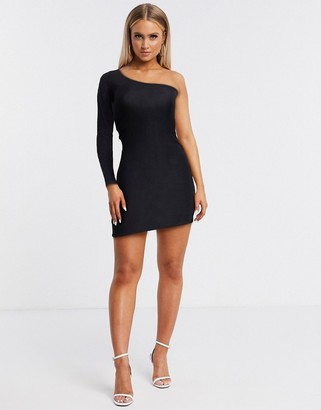 Fashionkilla going out one sleeve mini dress in black