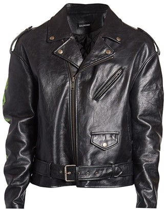 Balenciaga Painted Leather Biker Jacket