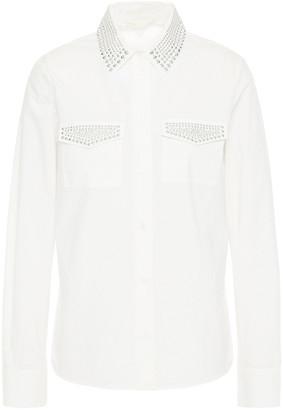 Maje Cilina Studded Cotton-poplin Shirt