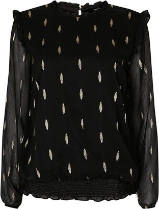 Wallis Black Foil Spotted High Neck Top
