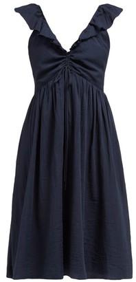 Loup Charmant Naxo Ruffled Cotton Midi Dress - Womens - Navy