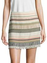 Saks Fifth Avenue Striped Fray Mini Skirt