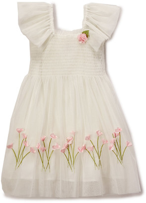 Biscotti Girls' Special Occasion Dresses IVORY - Ivory Floral Angel-Sleeve Dress - Girls